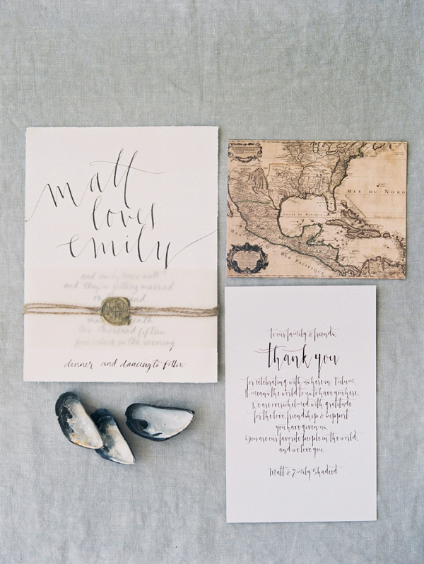 Calligraphy Invitation Suite | A Beach Chic Wedding in Tulum by Michelle Boyd Photography