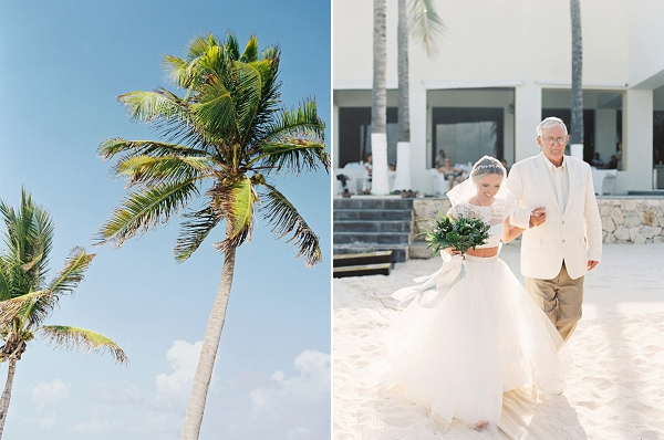 Father Walking Bride Down The Aisle | A Beach Chic Wedding in Tulum by Michelle Boyd Photography