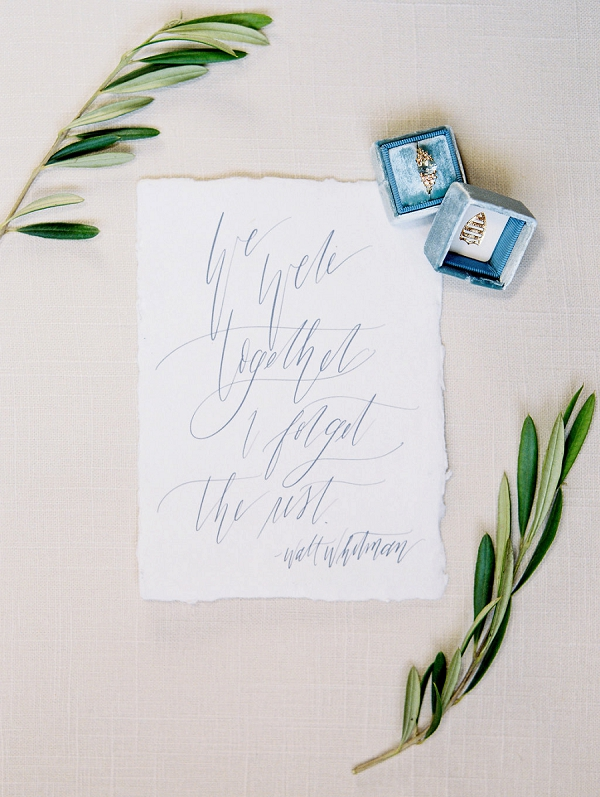 Calligraphy | Blush and Dusty Blue Bridal Inspiration in Rosemary Beach Florida by Courtney Woodham Photography