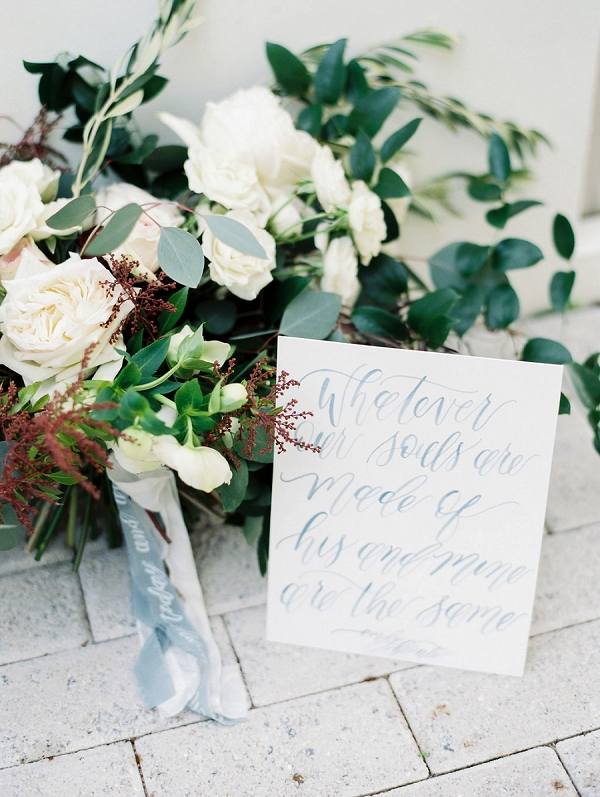 Love Quote in Elegant Calligraphy | Blush and Dusty Blue Bridal Inspiration in Rosemary Beach Florida by Courtney Woodham Photography