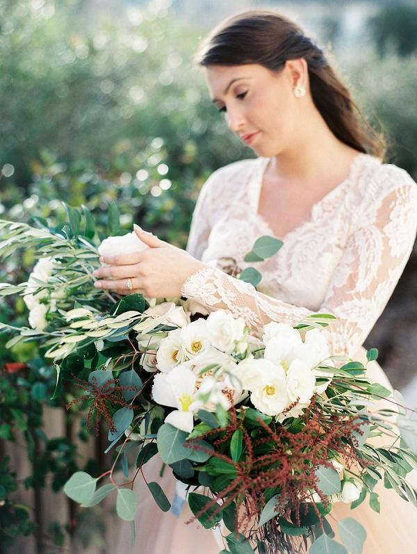 Long Sleeved Lace Wedding Dress | Blush and Dusty Blue Bridal Inspiration in Rosemary Beach Florida by Courtney Woodham Photography