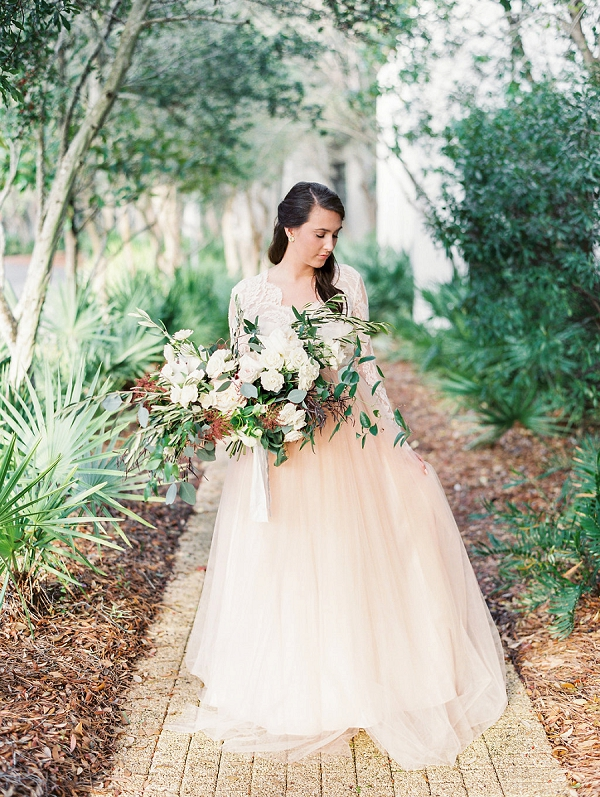 Bride in Blush | Blush and Dusty Blue Bridal Inspiration in Rosemary Beach Florida by Courtney Woodham Photography