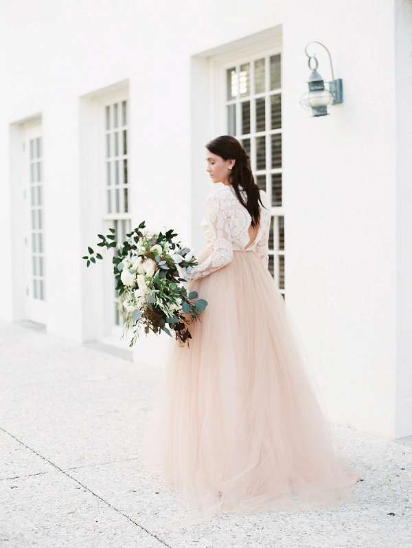 Bride in Blush Wedding Dress | Blush and Dusty Blue Bridal Inspiration in Rosemary Beach Florida by Courtney Woodham Photography