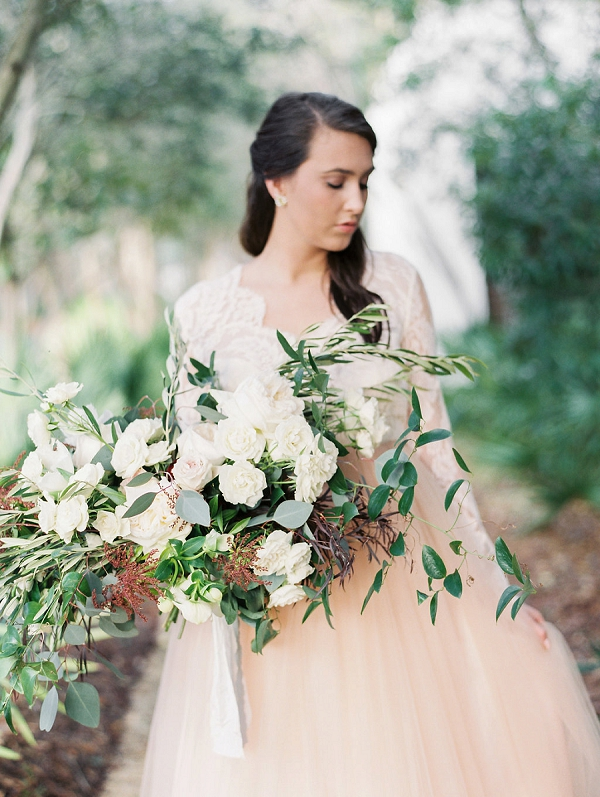 Organic Bouquet Arrangement | Blush and Dusty Blue Bridal Inspiration in Rosemary Beach Florida by Courtney Woodham Photography