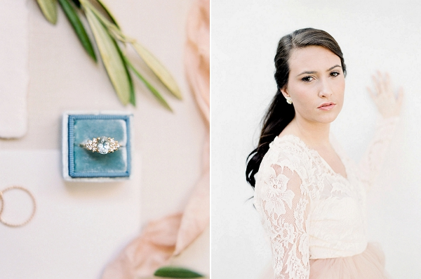 Engagement Ring | Blush and Dusty Blue Bridal Inspiration in Rosemary Beach Florida by Courtney Woodham Photography