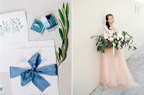 Bride with Lush Bouquet | Blush and Dusty Blue Bridal Inspiration in Rosemary Beach Florida by Courtney Woodham Photography