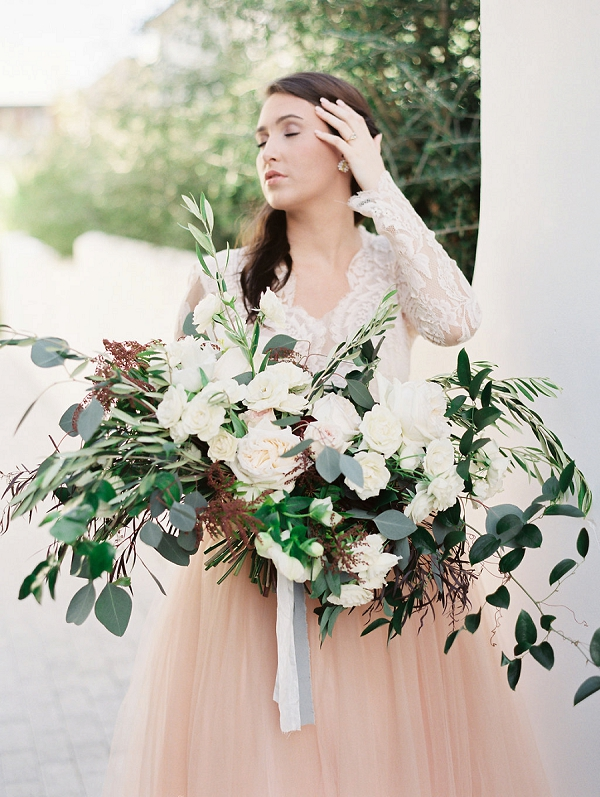 Lush Bouquet | Blush and Dusty Blue Bridal Inspiration in Rosemary Beach Florida by Courtney Woodham Photography