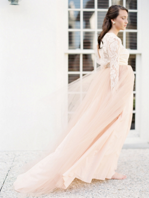 Ethereal Wedding Dress | Blush and Dusty Blue Bridal Inspiration in Rosemary Beach Florida by Courtney Woodham Photography