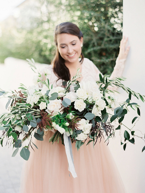 White Bouquet | Blush and Dusty Blue Bridal Inspiration in Rosemary Beach Florida by Courtney Woodham Photography
