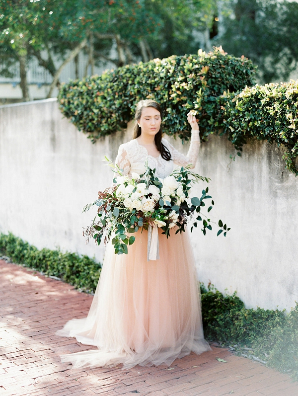 Dreamy Blush Bridal Style | Blush and Dusty Blue Bridal Inspiration in Rosemary Beach Florida by Courtney Woodham Photography