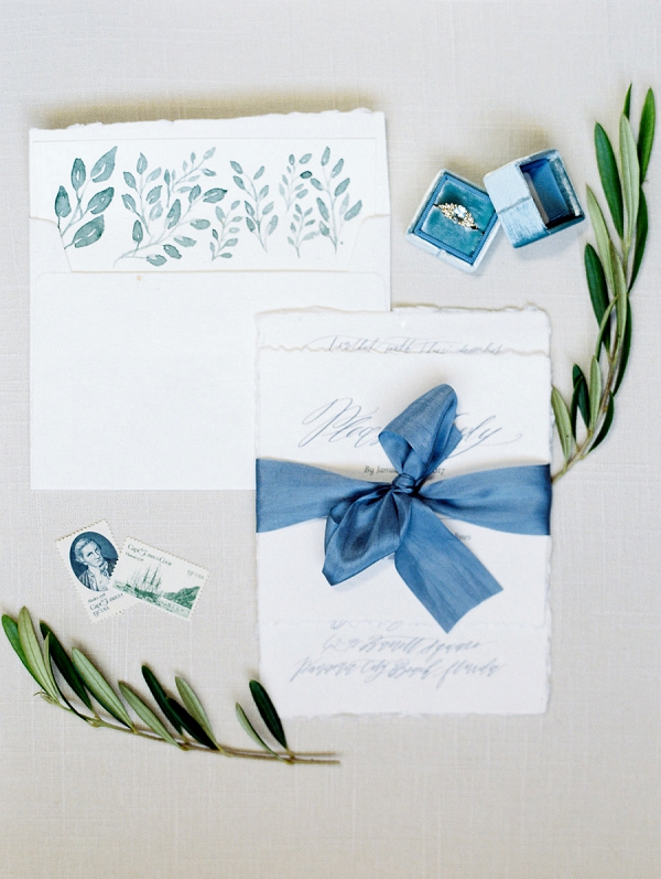 Wedding Invitation Tied with a Silk Ribbon| Blush and Dusty Blue Bridal Inspiration in Rosemary Beach Florida by Courtney Woodham Photography