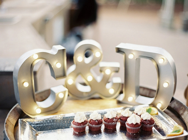 Marquee Wedding Sign and Red Velvet Cupcakes | Elegant Kenwood Vineyard Wedding By Yourdreamphoto