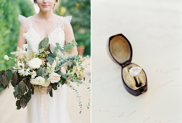 Engagement Ring and Bouquet   Romantic Outdoor Wedding Ideas by Esmeralda Franco Photography