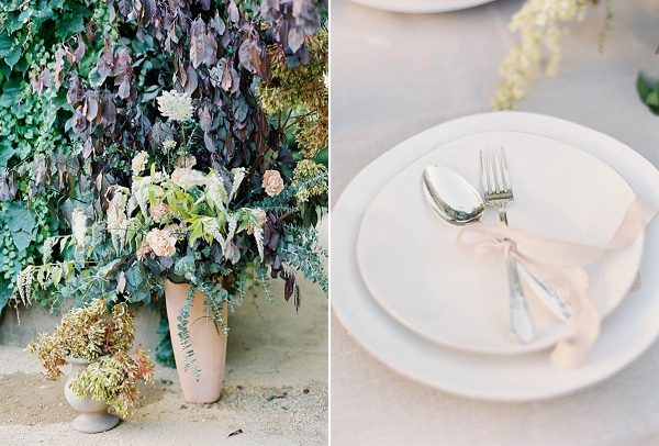 Place Setting and Outdoor Floral Arrangements   Romantic Outdoor Wedding Ideas by Esmeralda Franco Photography