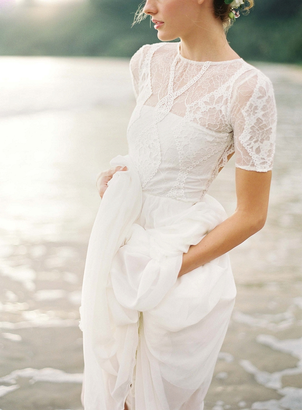 Romantic Bridal Gown | Ethereal Sunrise Bridal Portraits in Hawaii by Christine Clark Photography