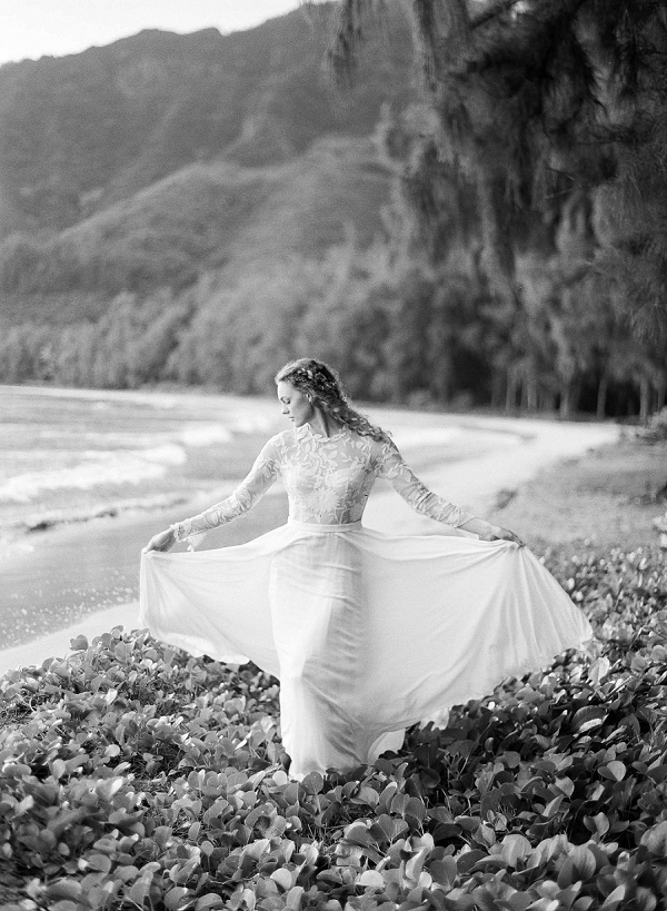 Destination Wedding Dress | Ethereal Sunrise Bridal Portraits in Hawaii by Christine Clark Photography