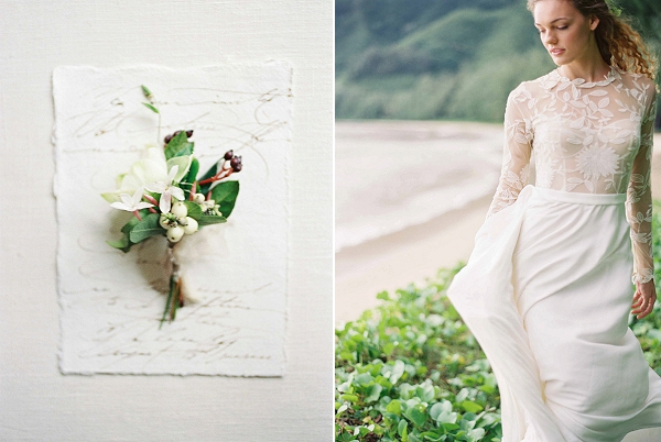 Delicate Boutonniere | Ethereal Sunrise Bridal Portraits in Hawaii by Christine Clark Photography