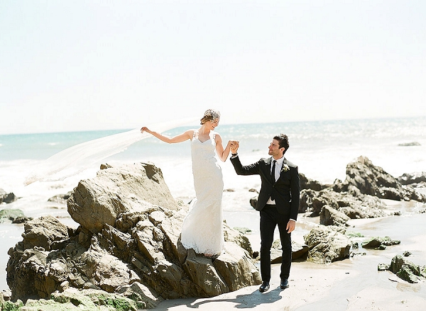 Bride and Groom on the Malibu Coast | Out Of Water Malibu Inspiration by Bonphotage Photography