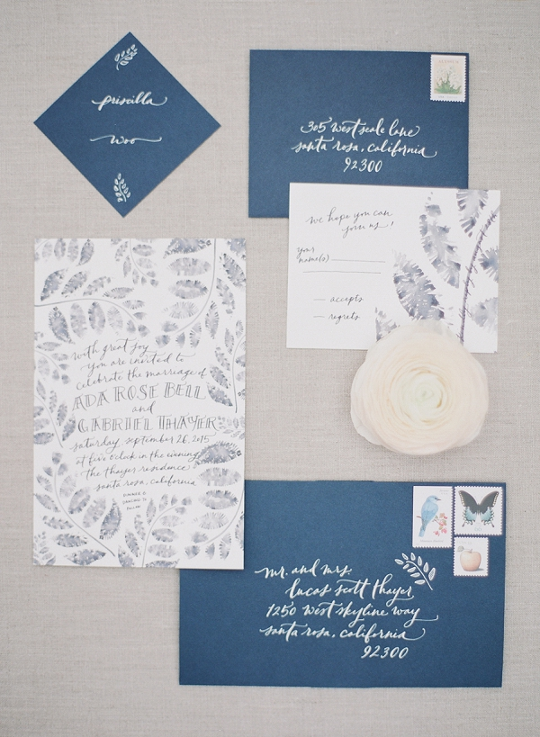 Blue and White calligraphy Invitation Suite | Serene Seaside Bride and Groom Portraits By Meg Fish Photography