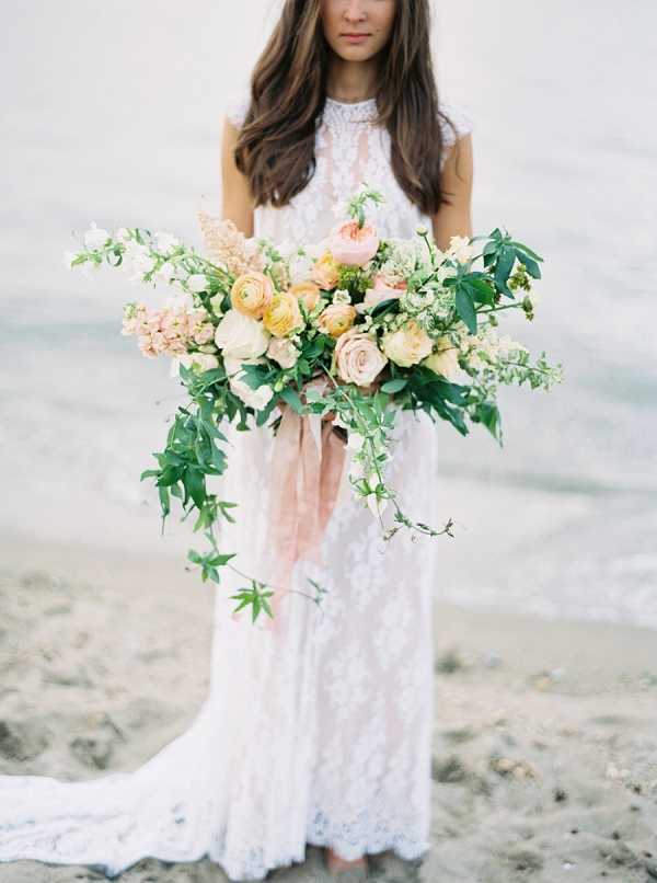 Gorgeous Peach and Blush Pink Bouquet   Understated Coastal Wedding Inspiration By Christie Graham Photography