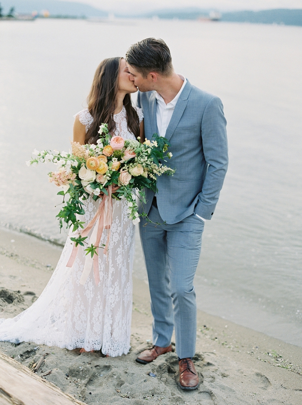 Bride and Groom on the Coast   Understated Coastal Wedding Inspiration By Christie Graham Photography