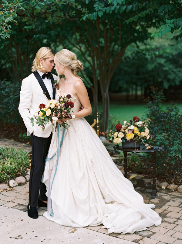 Bride and Groom with Modern Classic Style | Jewel Toned Garden Wedding Inspiration by Josh Deaton Photography