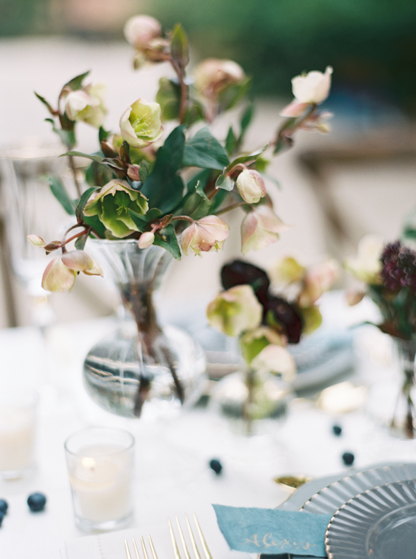 Low Floral Centerpieces | Jewel Toned Garden Wedding Inspiration by Josh Deaton Photography