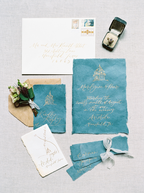 Calligraphy Invitation Suite | Jewel Toned Garden Wedding Inspiration by Josh Deaton Photography