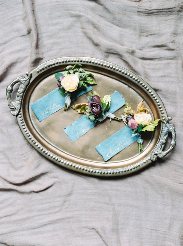 Boutonnieres | Jewel Toned Garden Wedding Inspiration by Josh Deaton Photography