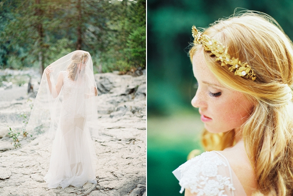 Bridal Headpiece by Mignonne Handmade | Organic Outdoor Bridal Inspiration by Anne Brookshire Photography