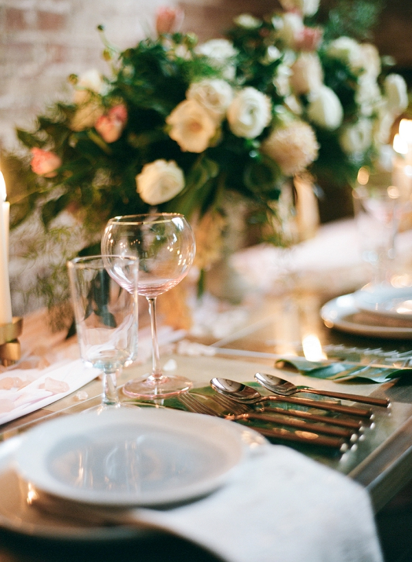 Tablescape | Graceful Industrial Wedding Inspiration by Lauren Field Design and Lisa Hessel Photography