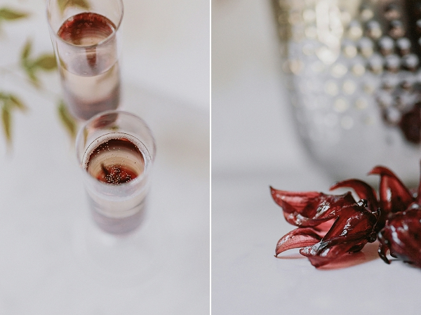 Tropical Wedding Cocktails: Prosecco with Hibiscus Flowers   Kellē Sauer Photography   Type A Society for Bajan Wed