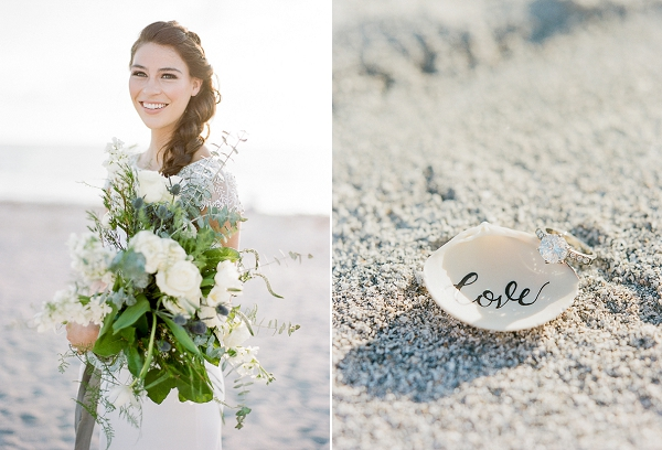 Engagement Ring and Calligraphy Seashell | Romantic Beach Wedding Inspiration by The Ganeys