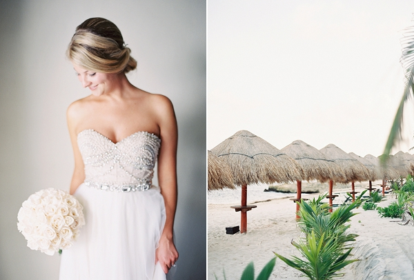 Beaded Watters Wedding Dress | Riviera Maya Mexico Beach Wedding By Kayla Barker Fine Art Photography