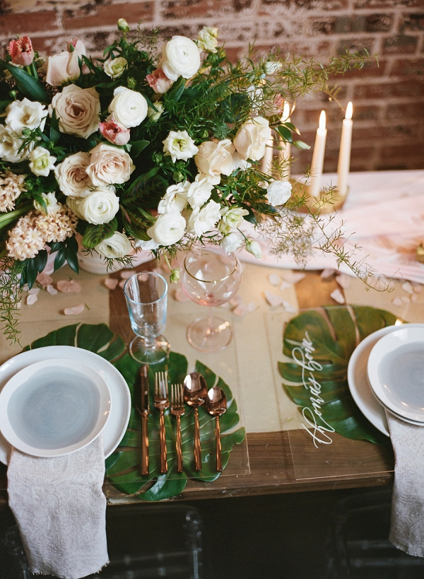 Lucite Place Settings | Graceful Industrial Wedding Inspiration by Lauren Field Design and Lisa Hessel Photography