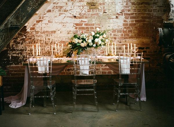 Tablescape with Candles | Graceful Industrial Wedding Inspiration by Lauren Field Design and Lisa Hessel Photography