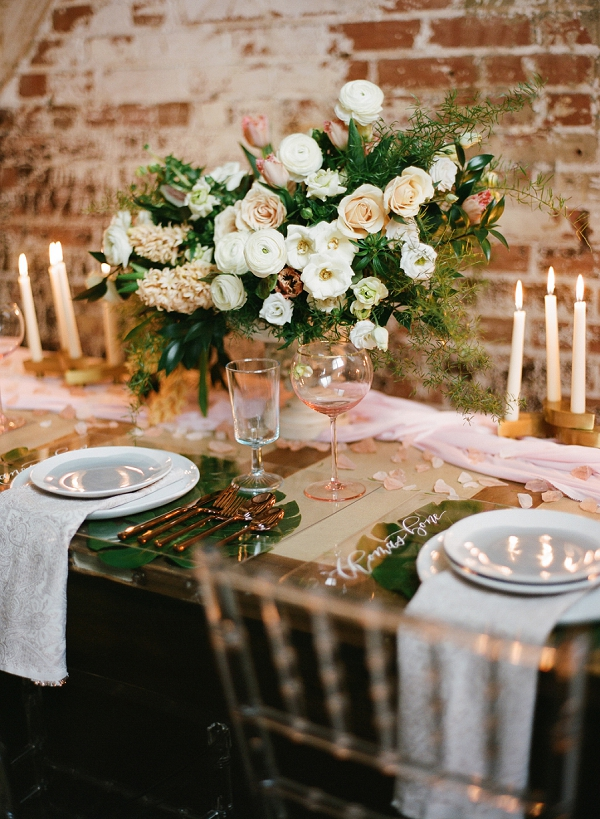 Romantic Florals | Graceful Industrial Wedding Inspiration by Lauren Field Design and Lisa Hessel Photography