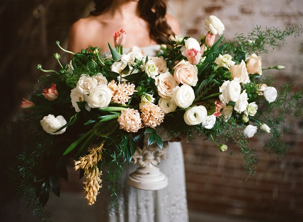 Floral Centerpiece | Graceful Industrial Wedding Inspiration by Lauren Field Design and Lisa Hessel Photography