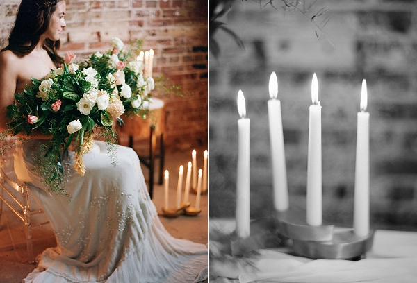 Wedding Candlelight | Graceful Industrial Wedding Inspiration by Lauren Field Design and Lisa Hessel Photography