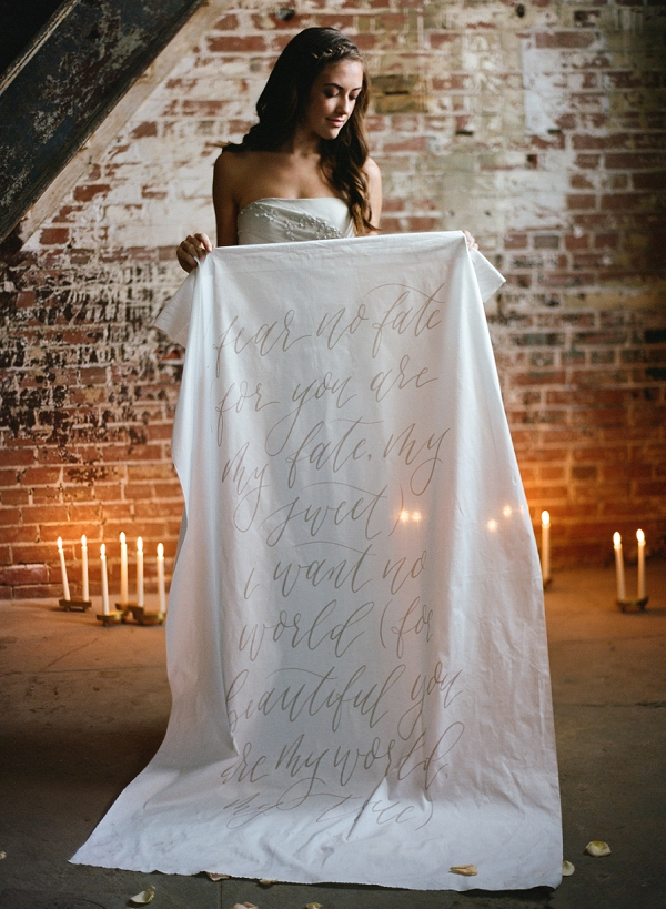 Calligraphy Backdrop | Graceful Industrial Wedding Inspiration by Lauren Field Design and Lisa Hessel Photography
