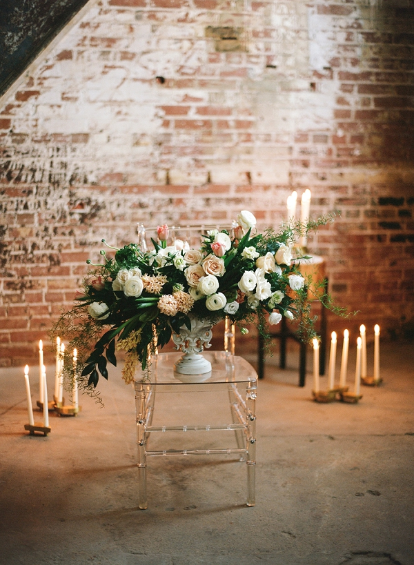 Blush Pink and Ivory Florals | Graceful Industrial Wedding Inspiration by Lauren Field Design and Lisa Hessel Photography