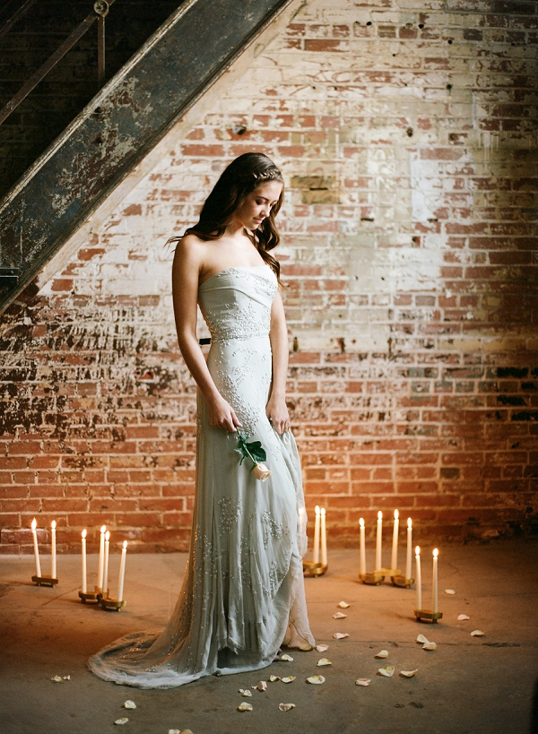 Bridal Portrait with Candles | Graceful Industrial Wedding Inspiration by Lauren Field Design and Lisa Hessel Photography