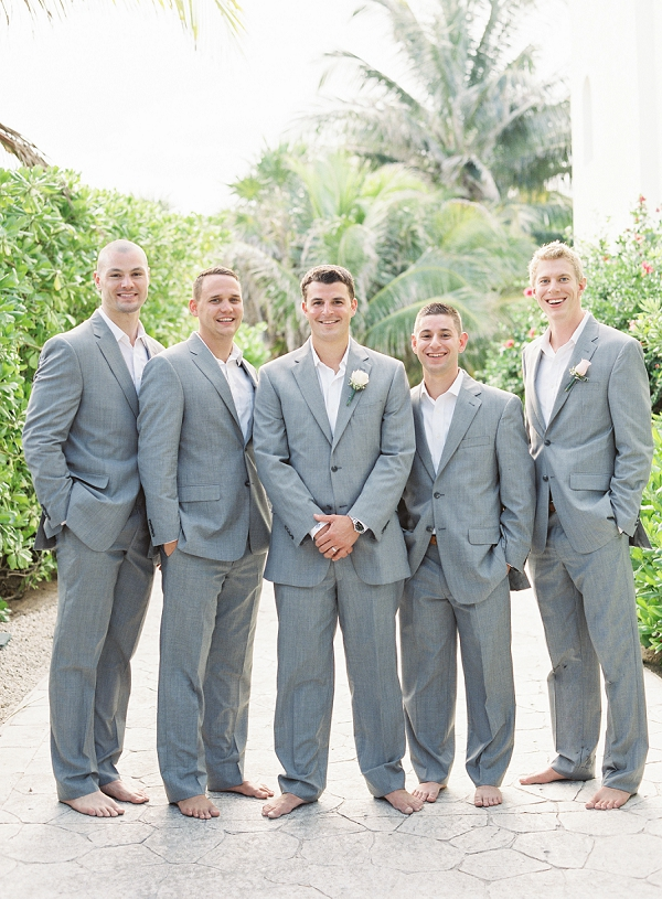 Groom and Groomsmen in Light Grey | Riviera Maya Mexico Beach Wedding By Kayla Barker Fine Art Photography