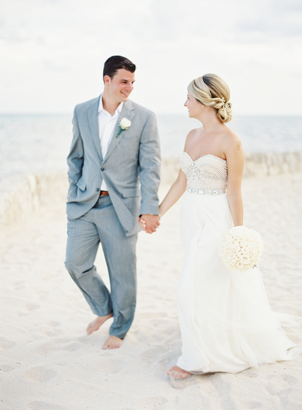 Barefoot Bride and Groom on Beach | Riviera Maya Mexico Beach Wedding By Kayla Barker Fine Art Photography