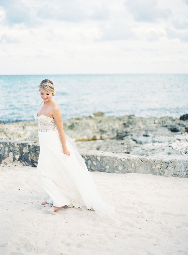 Watters Beach Wedding Dress | Riviera Maya Mexico Beach Wedding By Kayla Barker Fine Art Photography