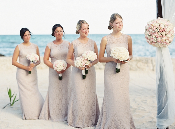 Blush Watters Bridesmaid Dresses | Riviera Maya Mexico Beach Wedding By Kayla Barker Fine Art Photography