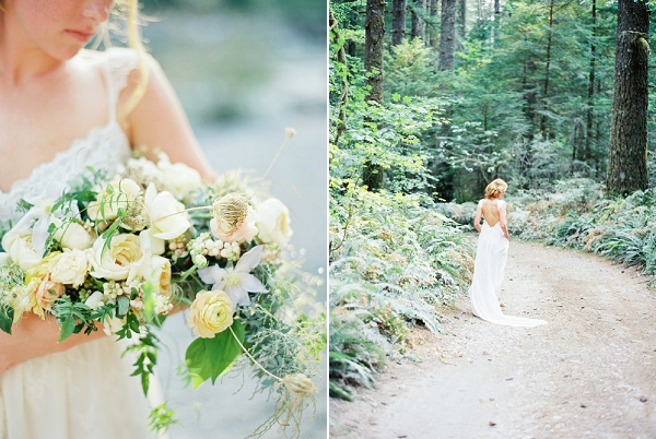 Pale Yellow Bridal Bouquet | Organic Outdoor Bridal Inspiration by Anne Brookshire Photography