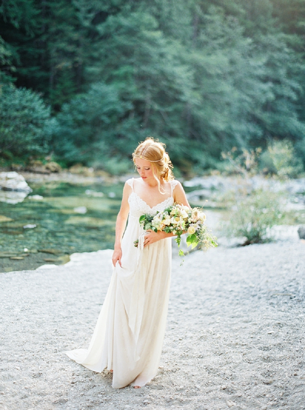 Bride with Bouquet | Organic Outdoor Bridal Inspiration by Anne Brookshire Photography