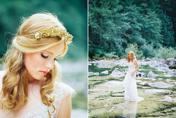 Gilded Bridal Headpiece from Mignonne Handmade | Organic Outdoor Bridal Inspiration by Anne Brookshire Photography