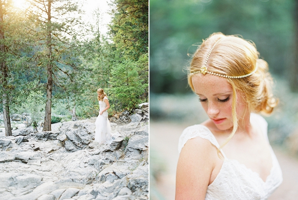 Bride with Headpiece from Mignonne Handmade | Organic Outdoor Bridal Inspiration by Anne Brookshire Photography